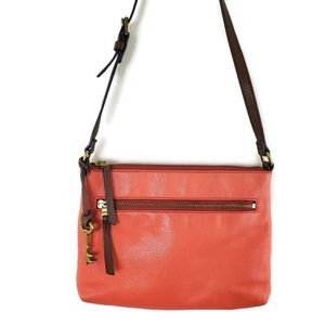 Fossil Bags - Fossil Coral and Tan Leather Crossbody Key Purse